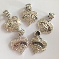 encantos de hermana mayor al por mayor-Envío libre Big Sis Middle Little Baby Sister Heart Crystal Dangle Beads Charm Fit Pandora Pulsera fabricación de joyas
