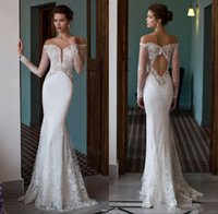 Wholesale Shoulder Cap Open Back Dress - Riki Dalal 2017 Off the Shoulder Mermaid Wedding Dresses Plunging V Neck Illusion Long Sleeves Lace Sexy Open Back Trumpet Bridal Gowns