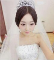 ingrosso trasporto libero degli antiquari cinesi-2017 vendita calda nuovo stile coreano diamante matrimonio grande corona popolare popolare nuziale corona accessori da sposa all'ingrosso