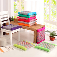 Wholesale Tatami Floor Cushion - 2017 New Coarse Cloth Square Chair Cushions Striped Candy Color Tatami Seat Cushion Mat Washable Floor Cushion 45*45cm