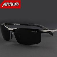 gafas de sol de aluminio polarizadas para hombres al por mayor-Caliente marca de gafas de sol polarizadas de la personalidad del hombre Fresco de magnesio de aluminio Conductores de conducción Viajes hombre esencial gafas de sol de hombre con la caja