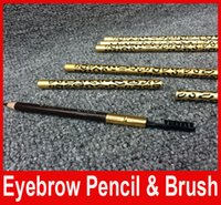 Wholesale New Browning Brushed - NEW Professional Make-up Eyebrow Pencil & Brush 5Colors Black,Deep Coffee,Light Coffee,Gray,Brown Leopard eyebrow pencil 50pcs