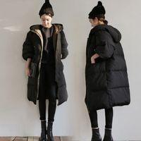 frauen parkas 2xl schwarz großhandel-Damenjacke Wintermode Schwarz Langer Mantel Damen Lose Parkas Damen Baumwolljacken