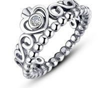 Wholesale Diamond Tiara Silver - 925 Sterling Silver Crown Tiara With Diamond Drilled Pandora Styles Rings engagement women ring lover rings