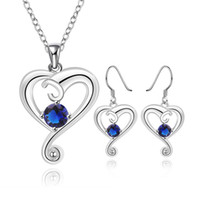 Wholesale Heart Shape Lighting Necklaces - Hot Sale Luxurious Necklace Earring Set Simple Silver Heart-shaped Daily Ladies Suit Crystal Bridal Jewelry Sets African Wedding Beads