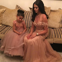 Wholesale Cozy Summer Dress - 2016 Mother And Daughter Dresses Cozy Tulle Off Shoulder Beaded Appliques A Line Evening Dresses Middle East Style