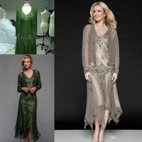Wholesale Designer Wedding Gowns Chiffon - 2016 Real Image Scala Tea Length Mother of The Bride Dresses with Long Sleeves Appliques Beaded Elegant Designer Women Gowns For Wedding