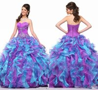 Colorfull Sweet Prom Kleider Party mit Perlen Perlen Perlen Schatz Ballkleid Layered Organza Lange Lila und Blau Formal Prom Gowns