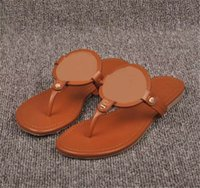 Wholesale Thongs Hook - 2017 Brown Matte Genuine Leather Brand New Women Thong Sandals Summer Women Beach Sandals Famous Flip Fllops