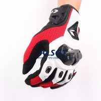 Waterproof black screen mesh - RS TAICHI Motorcycle Gloves Carbon Sport Racing gloves Armed Leather Mesh off road gloves Can touch screen red witha