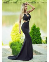 a918460132aa New Design Mermaid Backless Rhinestone Halter Sexy Black Evening Dress Off  The Shoulder Glamorous Prom Party Dresses Vestidos ...
