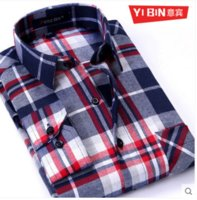 Wholesale thick winter shirts men - Wholesale-2016 New Autumn winter Plaid shirts high quality thick long sleeve peached finished flannel casual men shirt 4xl male clothes