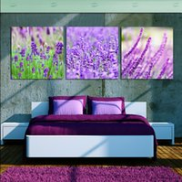 vereisten lavendel großhandel-Unframed 3 Stück versandkostenfrei bild wanddekoration leinwanddrucke Lavendel orange kirsch eis tulpen bambus chinesischen zeichen berg