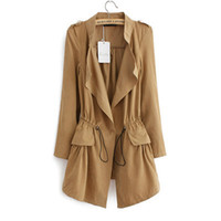 Wholesale Trench Elegant - Fashion 2016 Korean style Office Elegant khaki Drawstring Waist Long Trench Coat for Women Casual Windbreaker Female