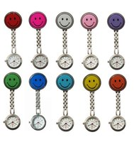 Wholesale Doctor Watch Smile - Wholesale 10 colors Doctor Metal Stainless Metal Alloy Nurse Medical Smile Face Watch Women Ladies Hospital Watches With Clip Pocket Watch