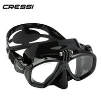 Wholesale Action Window - Wholesale- Cressi Action Scuba Diving Mask With Go Pro Camera Mount Tempered Glass 2 Window Low Volume Snorkeling Swimming Mask for Adults