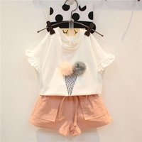 Wholesale Clothes Style Trousers - Kids Sets Baby Girls Summer Toddler Infant Cotton Short Sleeve T-Shirt Shorts Short Trousers Pants Set Two Piece Suit Baby Clothes 072