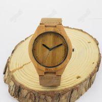 Wholesale Japanese Watches For Men - Luxury Bamboo Wooden Watch Japanese MIYOTSA Mmovement Watch Genuine Leather Natural Bamboo Wooden Watches for Men Free Shipping