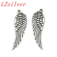 Wholesale Antique Wings - Hot ! 200pcs Antique silver Alloy Angel Wing Charms Pendants 9.5x30mm DIY Jewelry