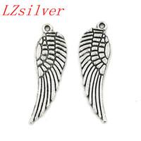 ingrosso le ali antiche-Caldo ! 200pcs argento antico lega di zinco angelo ala pendenti di fascini 9.5x30mm gioielli fai da te collana bracciali adatti