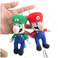 Wholesale Super Mario Toys Accessories - Fashion Super Mario Plush toys keychain Pendant Mario Stuffed Animals keyring 10cm 4 inches free shipping