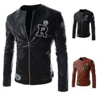 original leather jackets - Fall Japanese original individual letters embroidered Harajuku biker jacket motorcycle suit jacket leather men s age