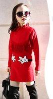 Wholesale Girls Coats 14 Years - 2016 spring autumn new style adolescent woolen overcoat big girl for 5-14 years girls Cartoon decoration pullover woolen overcoat