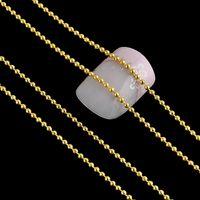 Wholesale Chain Metal Nail Art - Wholesale- Long 3M Metal Glitter Strip Tape Silver Gold 1MM Ball Beads Chain Nail Decorations Silver Gold 3D Nail Art Design Tip