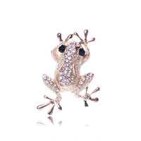 Wholesale Gold Frog Jewelry - 2017 new Crystal Mosaic Sweet lovely gold color frogs brooch for women Jewelry top grade fashion clothes accessories wholesale free shipping