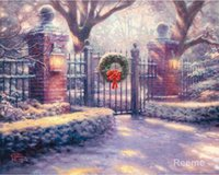 Wholesale Christmas Painting Famous - Christmas Gate-Thomas Kinkade Reproduction,famous Landscape paintings,High quality,Hand-painted