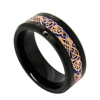 Wholesale Rose Tungsten Rings - 8mm Blue background Rose Gold Dragon inlay Tungsten Carbide Ring fashion jewelry finger ring for men Thanksgiving Day's Gift for Dad