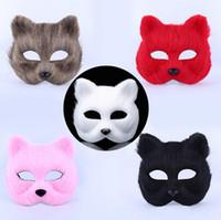 mascaras de zorro sexy al por mayor-Máscaras de fiesta de disfraces de Halloween animal hombre y mujer máscara de fox sexy peluda máscara de medio DH12