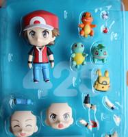 erwachsene figur puppe großhandel-10 CM PVC Mini Pocket Monster Ash Ketchum Action Figure Auswechselbare Gesicht Q Puppe Kinder Erwachsene Spielzeug