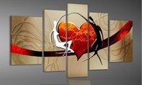 tanz wand leinwand großhandel-100% handgemaltes modernes abstraktes Ölgemälde auf Leinwand Begleiter-Tanzkunst Verliebte Gefühle auf der Wand