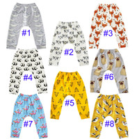 Wholesale Dinosaur Pants - 8 Style kids INS pp pants baby toddlers New boys girls fox Animal dinosaur geometric figure flamingo penguin trousers Leggings B001