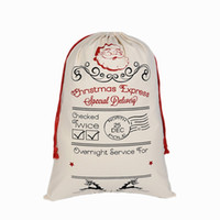 Wholesale Personalized Paper Gift Bags - Aiyahoo Large Red Drawstring Cotton Christmas Bag with Deer Pattern Personalized Santa Sack Gift Bag Storage Candy Bags Santa Claus Pattern