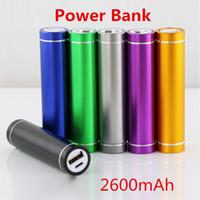 cargador de cilindro portátil al por mayor-forma del cilindro del envío gratis 2600mah banco de la energía móvil portátil 5V 1A cargador de la batería del USB 18650 banco del poder para su teléfono