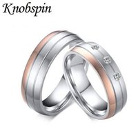 Romântica Elegante CZ Stone Wedding Rings for Couples Engagement Aniversário Amantes Stainless Steel Rose Gold Plating Jóias Gift