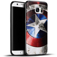 Wholesale Captain Painting - 14 patterns Samsung Galaxy S7 Edge TPU Silicone Gel Soft Case Cartoon Superhero American Captain Spiderman Ironman Doraemon Painting Relief