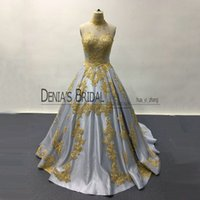 Wholesale Art Deco Shapes - 2017 Sheer Neck High Neck A-Line Evening Dresses Lace Appliqued heart-shaped Sleeveless Illusion Back Floor Length Court Train Prom Gowns