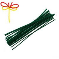 Wholesale Diy Green Cleaning - Dorabeads Terylene Chenille Stick Pipe Cleaner Craft DIY Making Christmas Dark green 30cm,2 Bundles(Approx 100PCs Bundle)
