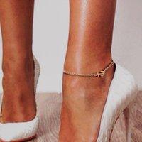 Wholesale Gold Layer Anklet - 1 Pc Bohemia Gold-Color Silver Color Multi Layer Chain Anchor Charm Chain Anklets Beach Barefoot Sandals Foot Jewelry