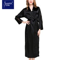 Wholesale Silk Long Kimonos - Burvouge diva Elegant Long Sleeve Lace Robes Nightwear Silk Bathrobes Satin Bride Robes Kimono Satin Robe Nightgown Sleepwear