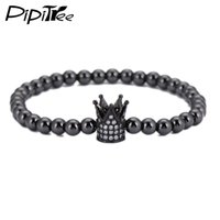 Pipitree 5mm Cobre Round Beads Braceletes Para Homens Luxo Gold Color Shiny CZ Imperial Crown Strand Pulseira Charm Jewelry