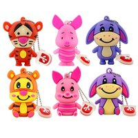 Wholesale Tiger Stick Wholesaler - Animal Shape USB Flash Memory Stick Pen Drives Cute Tiger Donkey Pig Children's Gift 8GB 4GB 16GB 1GB 2GB Opp Bag
