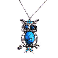 Wholesale Vintage Silver Owl Pendant - Wholesale 1pc Hot Vintage Faux Turquoise Alloy Owl Pendant Long Chain Necklace Fashion Jewelry Women Girls Gift Free Shipping