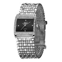 Wholesale Rhinestone Bracelet Japan - Wholesale-Women's Delicate Square Case Diamond Silver Gold Steel Luxury Quartz Bracelet Watch,2015 Japan Movement Women Rhinestone Watch