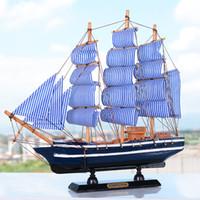 holzboot schiff modell großhandel-Neu! Mittelmeer Stil 16-36 cm Holz Segelschiff Handgemachte Geschnitzte Modell Boot Hause Nautische Dekoration Handwerk Geschenk