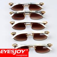 Wholesale Sunglasses Luxury Original Box - Eyesjoy Buffalo Horn Sunglasses Brand Designer Retro Luxury Horns Mens SunGlasses Rimless Frmaes sunglasses for men with Original Red Box