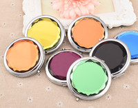Wholesale Make Up Mirror Magnifying - HOT!Cosmetic Compact Mirror FREE Engraved Crystal Magnifying Multi Color Make Up Mirror Wedding Favor Gift FREE SHIPPING#M023S